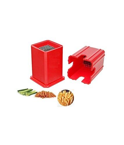 VALAMJI Nestwell Potato Chipser Plastic French Fries Cutter, Red