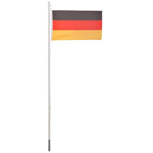 Ultranatura Alu Fahnenmast 6.2 Meter für Flagge, Fahnenstange stabil mit Deutschlandflagge 150 x 90 cm, Flaggenmast für den Garten mit Hiss Seil