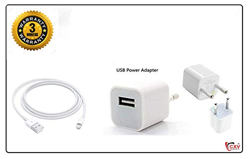 CXV CASES® Fast Power Charger with USB Cable Compatible for Apple iPhone 5 /5s/6/6S/7/7Plus/8/8 Plus/X/XS/XR/XS Max (White)
