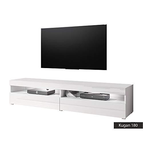 Mobiletto porta tv Kugan 180 cm 180x36.5x39.5 (bianco opaco/bianco lucido)