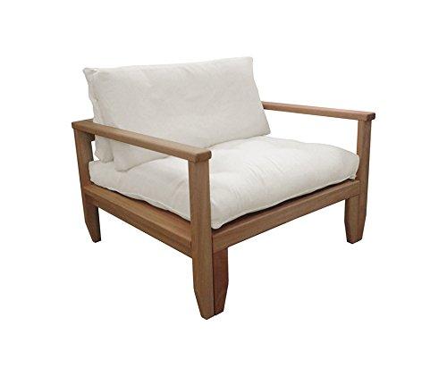 Vivere Zen - Poltrona Letto in Legno Artigianale futon Edera con futon Cotone rilavorato 14 cm