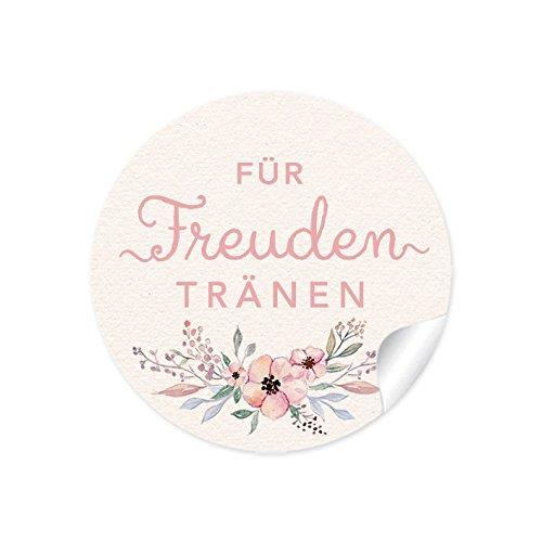 """3er Set 3 Bögen a 24 STICKER 72 Aufkleber:\""""Für Freudentränen\"""" CREME PASTELLFARBEN Blumen • Für Taschentücher, Taschentuchverpackung, Gastgeschenke, Hochzeitsmarmelade • 4 cm, rund, matt"""