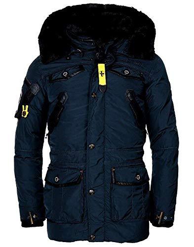 Geographical Norway - Giacca invernale da uomo con cappuccio, modello Acore, caldo anorak imbottito, giacca outdoor, collezione 2019/20 blu navy XXL