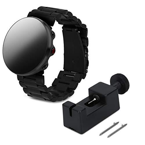 kwmobile Cinturino Orologio per Polar Vantage M - Cinturino a Maglie di Ricambio per smartwatch Acciaio Inossidabile Nero - con Fibbia Pieghevole