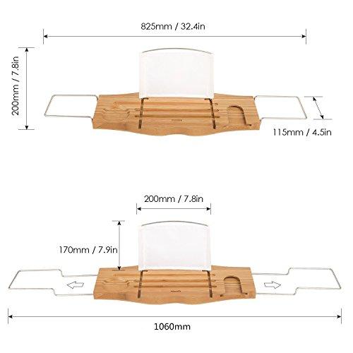 Homfa plateau de bain pont de baignoire r glable en bois - Porte bougie en bois ...