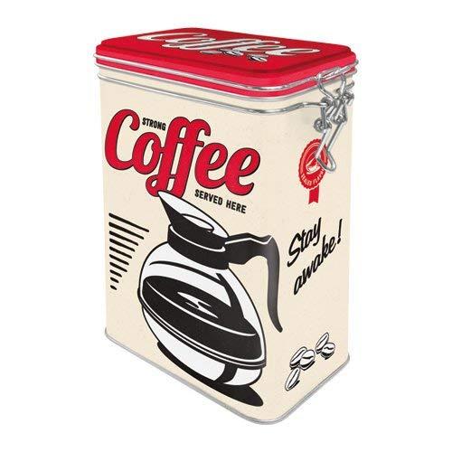 Nostalgic-Art 31105 USA - Strong Coffee Served Here   Retro Aromadose  Blech-Dose   Kaffee-Dose   Aromadeckel   Metall