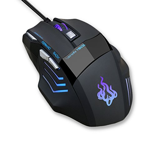 QueenDer Mouse Gaming, Mouse USB Ottico Professionale, Mouse da Gioco, con LED, DPI Alto, Tasti...