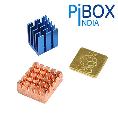 PiBOX India Raspberry PI Heatsink, Raspberry PI - 3 Piece Heavy Copper and Aluminium Heatsink Cooler Cooling Kit for Pi 3, Pi 2, Pi Model 3B+