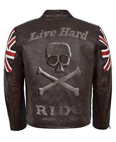 So-Shway Giacca da Motociclista della Bandiera del Regno Unito Giacca da Motocicletta del Motociclista della Vintage Motorcycle Cafe Racer Retro (M)