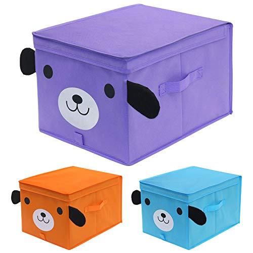 homyfort Set di 3 Toy Chest portatutto, Grande Pieghevole Scatola di Immagazzinaggio per Bambini,...