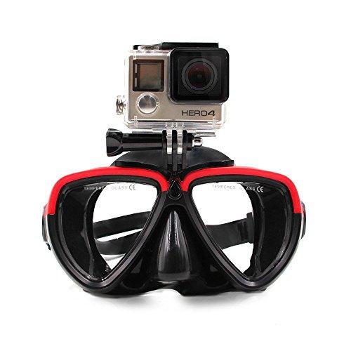TELESIN Vetro da Immersione in Silicone con Maschera di Immersione a Scomparsa Maschera da Immersione da Nuoto per videocamera Sportiva GoPro HD Hero 2 3 3+ 4,4 Session,5 Session,5 Black(Rosso Nero)