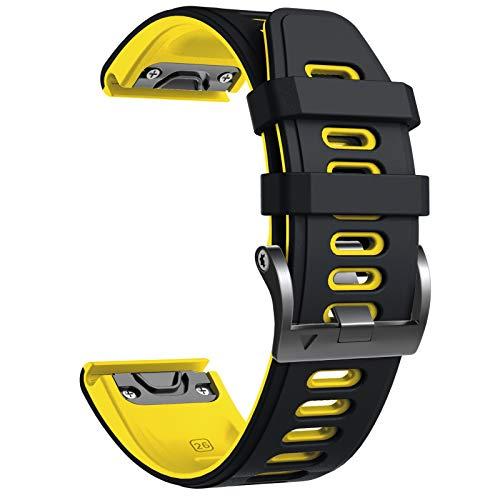 NotoCity Cinturino per Garmin Fenix 6X/Fenix 6X PRO/Fenix 3/Fenix 3 HR/5X/Fenix 5X Plus/, 26mm Cinturino di Ricambio in Silicone, Braccialetto Quick-Fit, Colori Multipli. (Nero+Giallo)