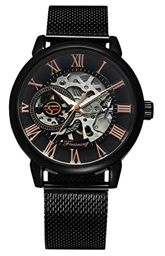 RSVOM Orologi automatici da uomo, orologio analogico meccanico con cinturino in maglia di acciaio...