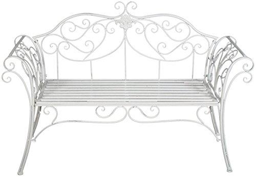 Divanetto in ferro battuto finitura bianca anticata L133xPR47xH90 cm