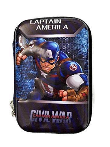VikriDa Premium Stylish Large Capacity Hardtop Pencil Case Organizer /Pencil Case, Pen & Pencil Pouch Bag Case for School Supplies for Kids, Pouch for / Girls / Boys (Captain America)
