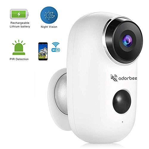 Telecamera di sicurezza a Batteria Ricaricabile WiFi Videocamera senza fili IP esterna per videosorveglianza esterna Impermeabile Bidirezionale Sensore PIR AudioVisione notturna HD, iOS Android remoto