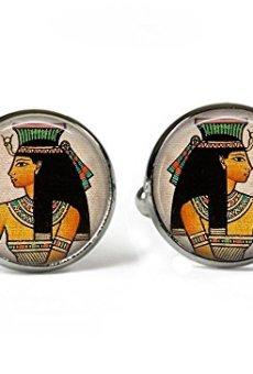 Antiguo Egipto Princess–cuadro de cristal Gemelos–Bañado en Plata (BC2)