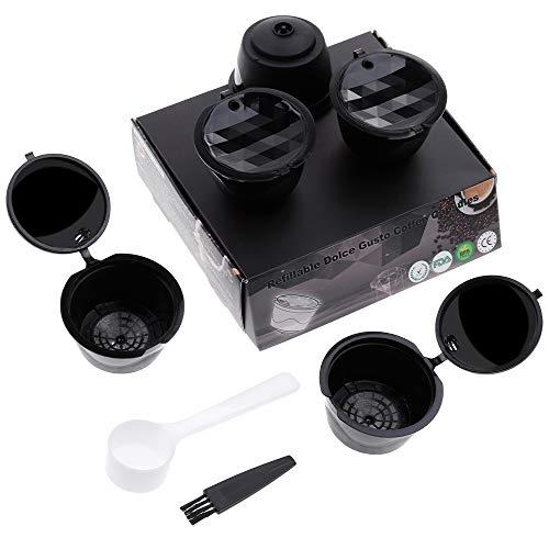 Lictin Capsule per Caffè Ricaricabili Capsule Dolce Gusto, 5 Tazze +Cucchiaio di Plastica + Spazzola i Cafilas