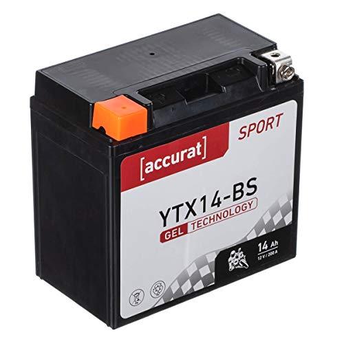 Accurat Motorradbatterie YTX14-BS 14Ah 200A 12V Gel Technologie Starterbatterie in Erstausrüsterqualität zyklenfest sicher lagerfähig wartungsfrei