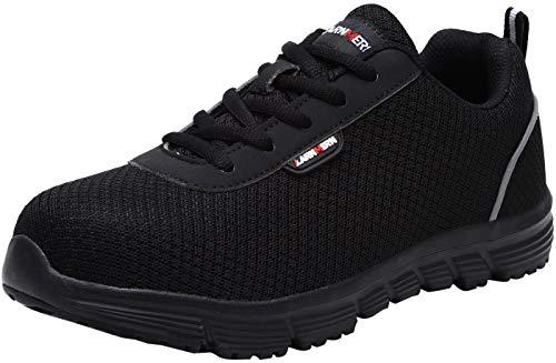 Zapatillas de Seguridad Mujer, LM-8038 SRC Zapatos de Trabajo con Punta de Acero Ultra Liviano Suave y cómodo Transpirable Antideslizante(37 EU,Negro Oscuro)