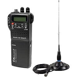 Kit de Radio CB Midland Alan 42 + Antena CB PNI ML145, Montaje magnético 145 / PL Incluido