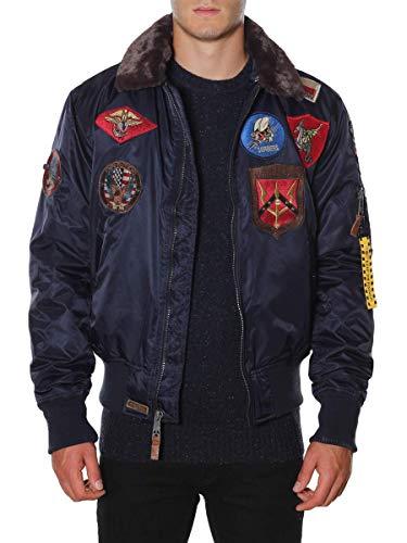 Top Gun Giubbotto Bomber in Nylon Patch Collo Pelliccia 51669 Blu, S