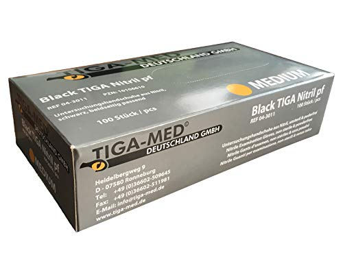 Tiga-Med - Guanti monouso in nitrile, senza talco né lattice, taglia media, 100 pz, neri