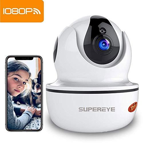 Supereye Telecamera Sorveglianza Wifi 1080P Telecamere IP Camera Wifi Wireless Interno, Visione Notturna, Audio Bidirezionale, Rilevamento Movimento, Allarme via App, Baby monitor