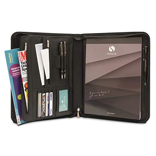 SEIDELER Premium Schreibmappe A4 im Geschenkkarton - Hochwertige Konferenzmappe mit gratis Notizblock
