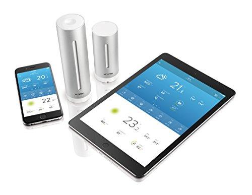 41%2BtfJe7IRL [Bon Plan Netatmo] Netatmo Station Météo Intérieur Extérieur Connectée Wifi pour Smartphone, Capteur Sans fil, Thermomètre, Hygromètre, Baromètre, Sonomètre, Qualité de l'air - Compatible avec Amazon Alexa, NWS01-EC