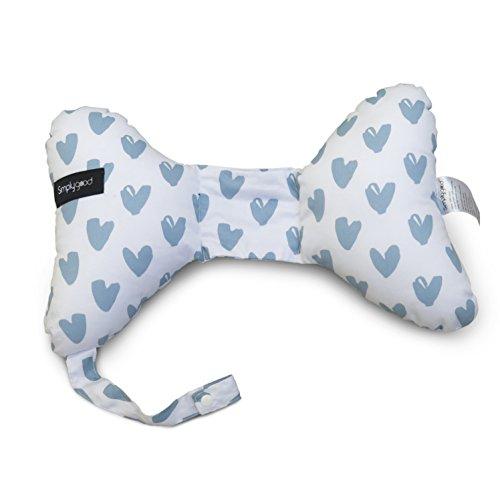 Simply Good Neck Cushion Almohada Mariposa Cervical con Soporte para Cuello y Cabeza + Portador de Chupete Reposacabeza para Recién Nacidos e Bebes (Corazones Azules)