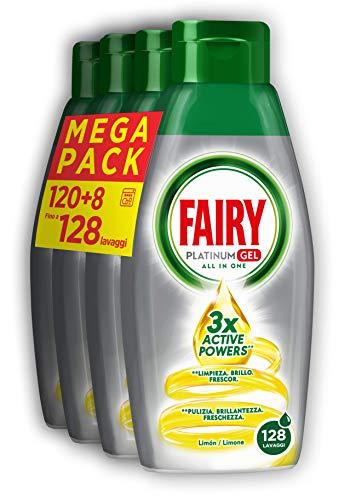 Fairy Platinum Gel Detersivo Lavastovigle All in 1, Limone, 128 Lavaggi Maxi Formato da 650 ml, 4...
