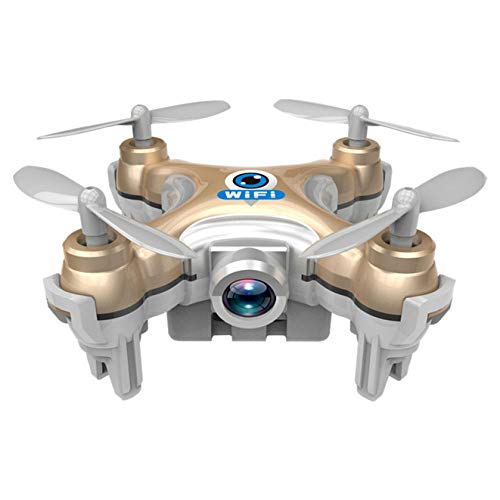 FJXJLKQS WiFi Cellulare Tablet Mini Quadcopter Controllato Super Micro Nano RC Drone con Videocamera 2.4G 4 Canali 3D Giroscopio 6 Assi con 360 Acrobazie Rotazione Argento,Gold