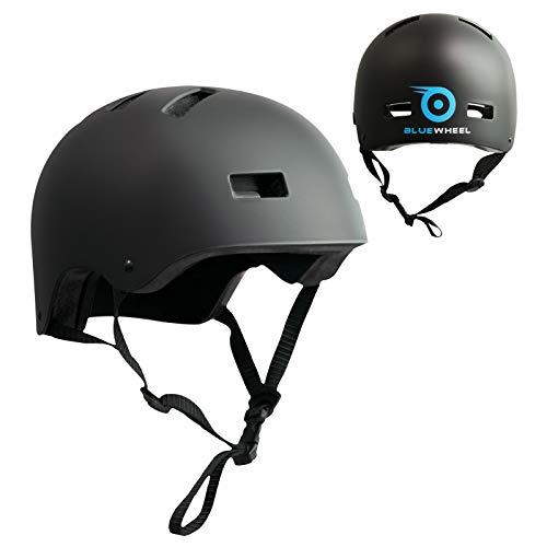 Bluewheel Helm H30 für Hoverboard, Inline-Skate, BMX Fahrrad; 3 schichtiger Aufbau für mehr Sicherheit und Tragekomfort, mit Belüftungssystem, passgenau in matt schwarz - für Kinder & Erwachsene
