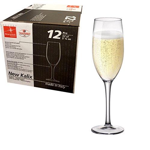 Confezione da 12 CALICI 17cl per prosecco spumante Flute da Champagne - BORMIOLI ROCCO MADE IN ITALY linea NEW KALIX