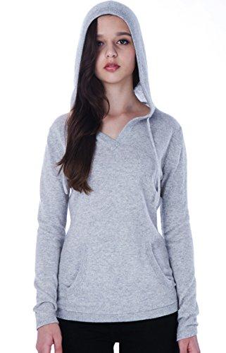 100% Kaschmir V-Ausschnitt Kordelzug Hoodie Pullover für Frauen - von CASHMERE 4 U (Large, Argent (Garu))