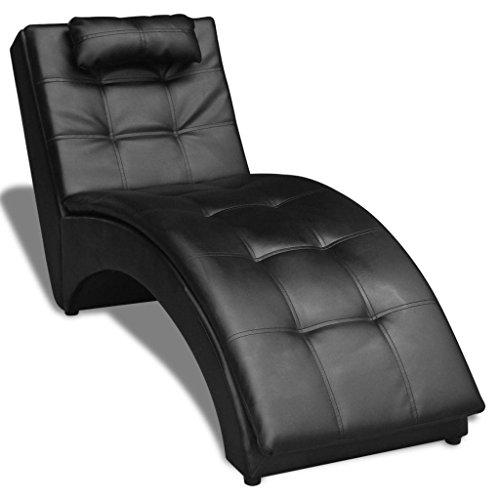 binzhoueushopping Chaise Lounge Modello Nero, con Cuscino in Cuoio Artificiale 150x 55x 72cm, tantrico Esterno, per Salotto
