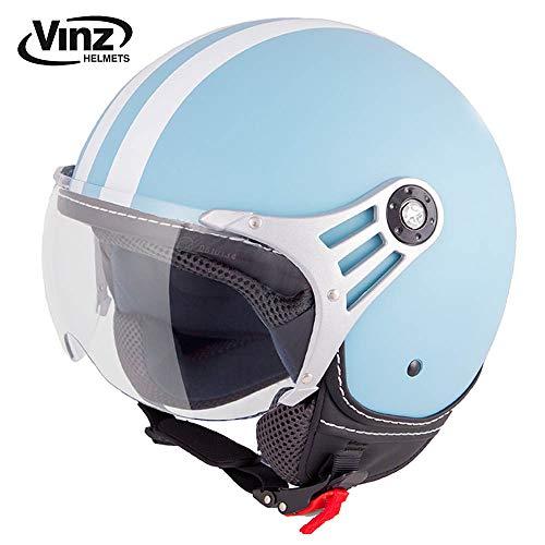 Vinz Rollerhelm Jethelm Fashionhelm | Roller Jet Helm mit Streifen | in Gr. XS-XL | Motorradhelm mit Visier | ECE zertifiziert (M, Hellblau)
