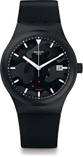 Swatch Herren Digital Automatik Uhr mit Silikon Armband SUTA401