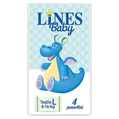 Lines Baby Large, 4 Pannolini, Taglia 4 (8-16 Kg),Confezione Prova