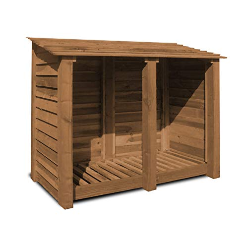 Twin bay log store, measuring 150cm wide, ideal for storing logs and keeping them dry with the added option of doors.