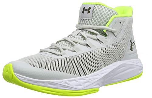 Under Armour Herren Jet Mid Basketballschuhe, Grau (Gray Flux/White/High-Vis Yellow 106), 42.5 EU