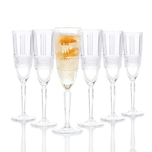 RCR 26968020006 Brillante flute da champagne, 185 ml, set da 6, in vetro