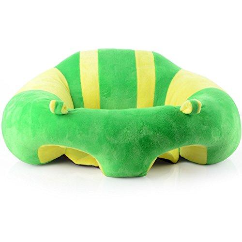 Jycra - Seggiolini per divano, simpaticissimi, sicuri morbidi, per dare la pappa - poltrona a sacco, portatile, per bambini - cuscino per 3-16mesi, peluche+PP cotone, Green, 43x43x20cm
