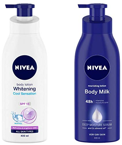 NIVEA Body Lotion, Whitening Cool Sensation (SPF 15), 400ml and Nivea Nourishing Lotion Body Milk with Deep Moisture Serum and 2x Almond Oil for Very Dry Skin, 400m
