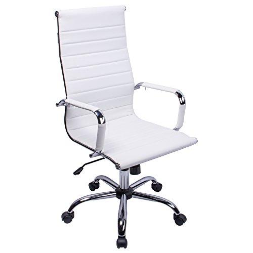 Sedia schienale alto girevole in PU bianco Sedia schienale alto girevole regolabile in altezza
