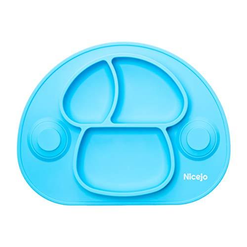 Piatto Pappa Neonato con Ventosa di 2a Generazione - Silicone Alimentare - Tovaglietta Antiscivolo Per Seggiolone - Tre Scomparti - Bambini 6 18 Mesi - Va in Lavastoviglie (Azzurro)