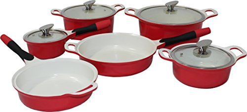10tlg Induktion Keramik Kochtöpfe Topfset Kochtopfset Topf Pfanne Bratpfanne Farbe Rot