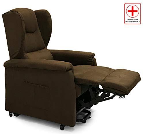 Più Relax Poltrona Alza Persona a 2 Motori per Anziani e Disabili Dispositivo Medico (Microfibra Cacao)