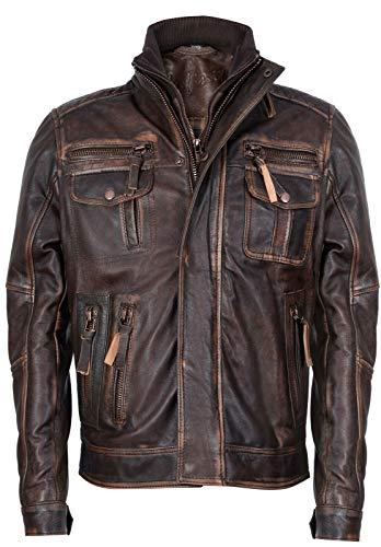 Infinity Leather Marrone Caldo Brando Giubbotto da Motociclista in Pelle da Uomo 2XL